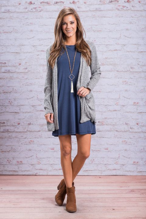 transition from sumer to fall fashion cardigan with dress and booties outfit from Mint Julep boutique
