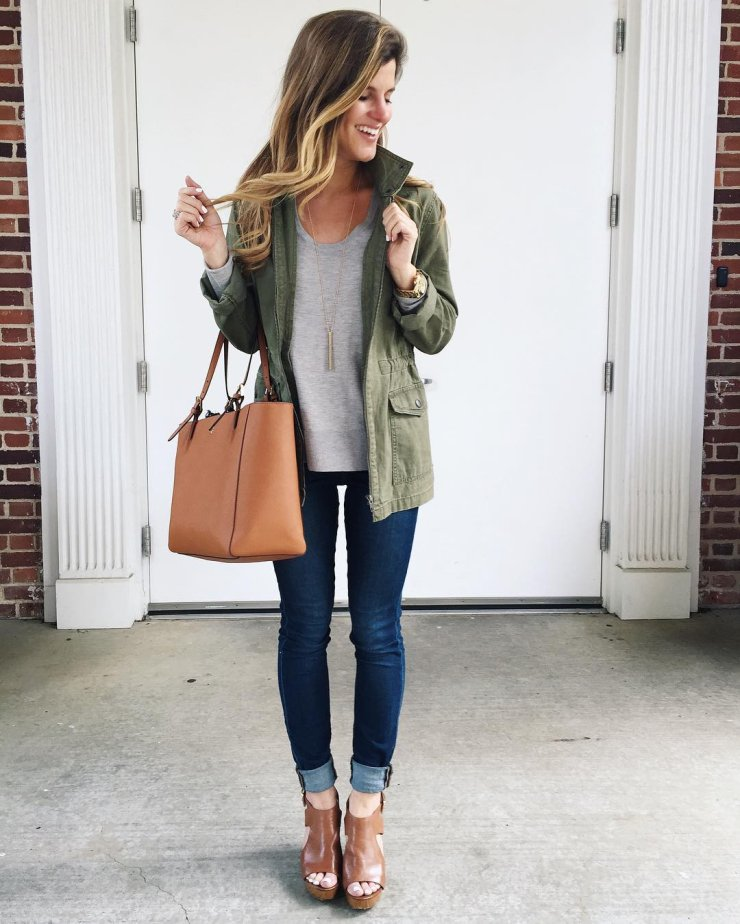 transition from summer to fall fashion military jacket trend