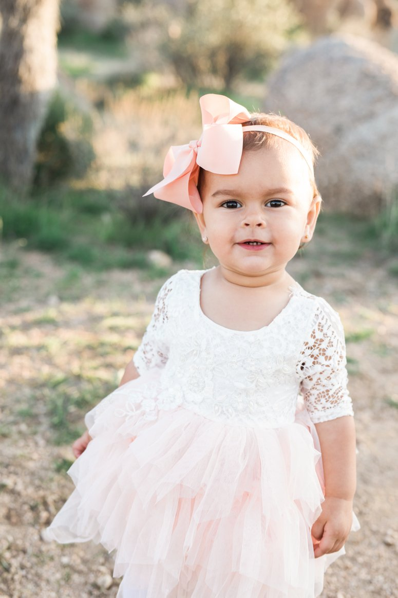 What to wear for family pictures outside | toddler girl in desert wearing pink dress | lifewithmar.com
