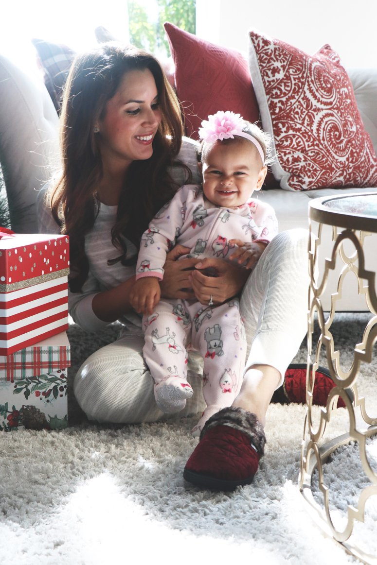 The best house slippers that are cute and comfy, Isotoners! | LifewithMar.com | Mom with baby snuggling in PJs for Christmas