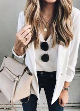 Jeans, Tee, White Blazer