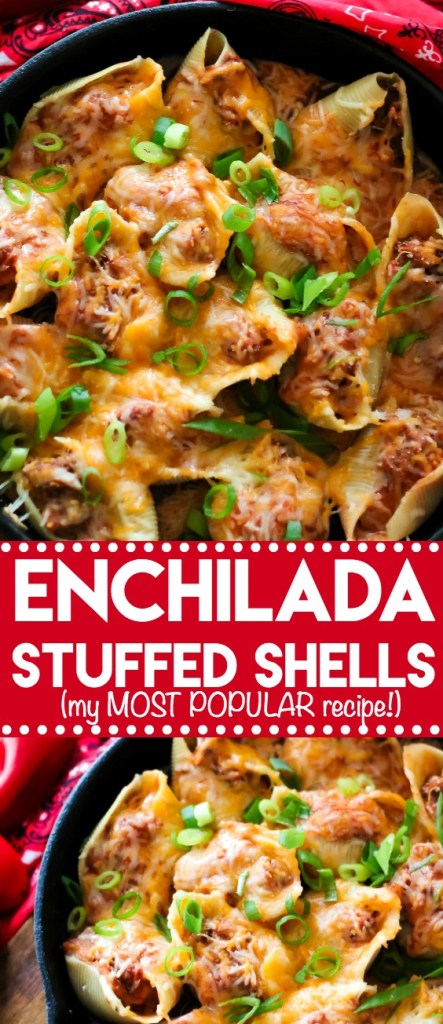 Enchilada Stuffed Shells are my MOST POPULAR recipe! Full of cheese and enchilada flavor, it makes a dinner everyone will love!