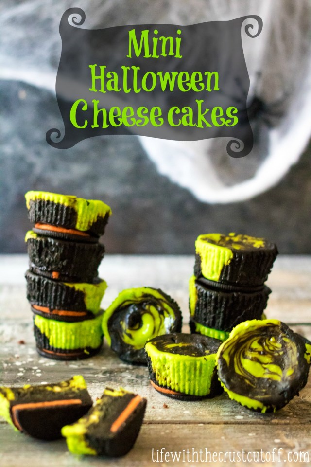 Mini Halloween Cheesecakes are the perfect spooktacular dessert! Colorful, easy to make and with an Oreo crust they are the perfect Halloween treat!
