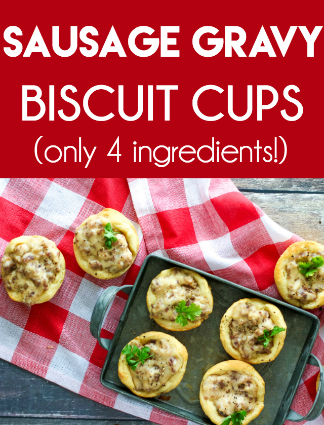 Sausage Gravy Biscuit Cups are our new favorite breakfast! Flaky biscuit cups loaded with perfect sausage gravy! So easy to make with just four ingredients!