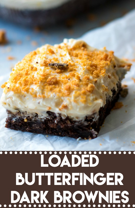 Loaded Butterfinger Dark Brownies-8