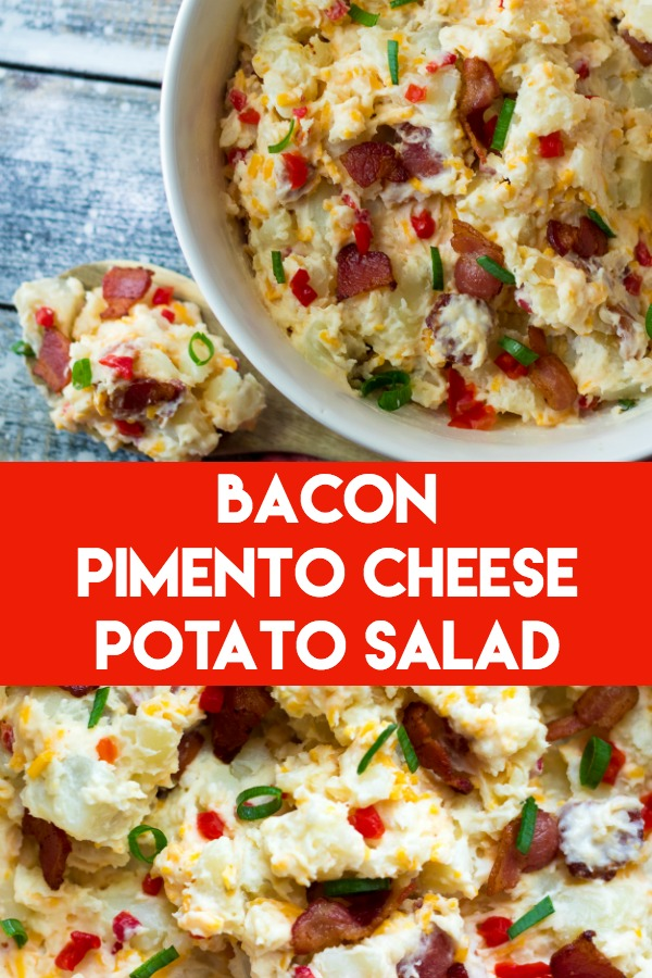Bacon Pimento Cheese Potato Salad is the BEST potato salad you will ever make! It will be your new go-to for all your cookouts!
