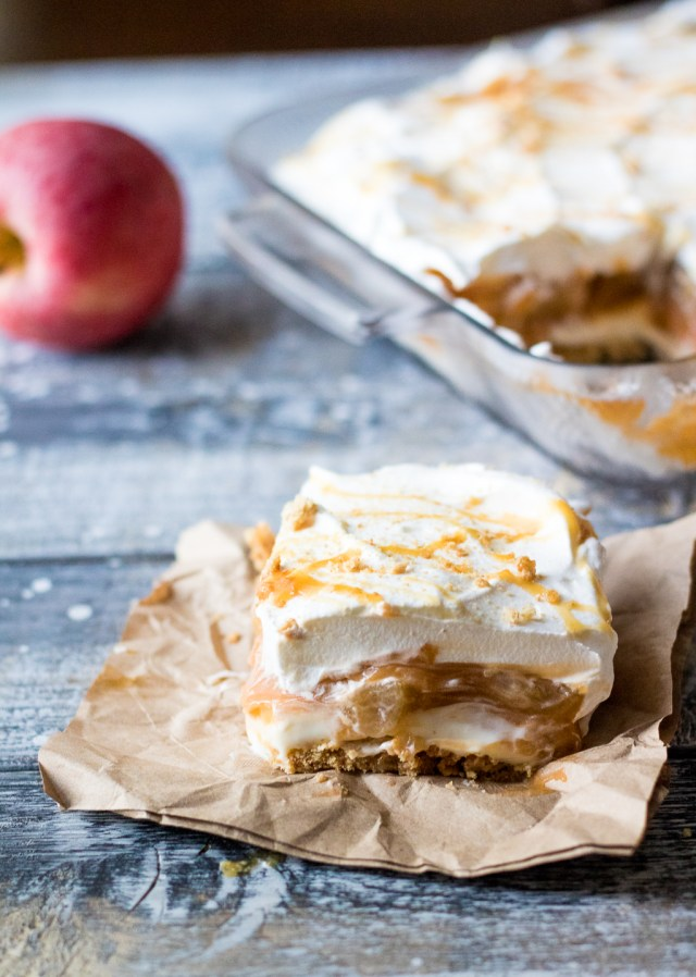No Bake Caramel Apple Lush is perfect Fall with layers of cream cheese, whipped cream, caramel, butterscotch pudding and apple pie filling.