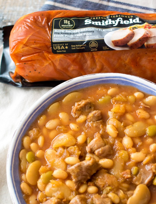 Cowboy Pork and Beansare so easy to make right in the slow cooker! Tender pork and a secret ingredient give this dish amazing flavor!