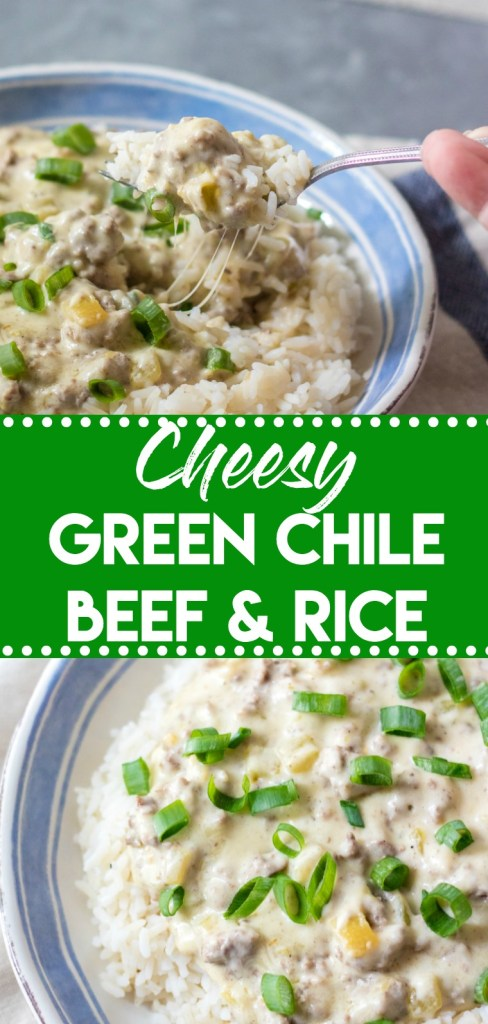 Cheesy Green Chile Beef & Rice is the perfect, easy, quick dinner that everyone will love! Full of flavor but not too spicy it is a crowd pleaser!