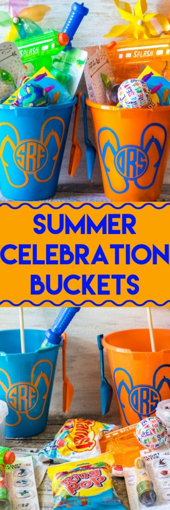 Super fun inexpensive buckets full of goodies for the summer! Perfect for the last day of school or the first day of summer!