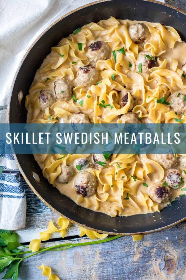 Skillet Swedish Meatballs are a hearty, comforting one pot wonder you will want to make for dinner every week! So easy and delicious.