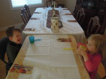Lucia and Beau getting ready to feast