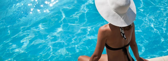How To Mend An Aquatic Glitch With Proper Pool Leak Detection Woman With Hat Sitting By The Swimming Pool