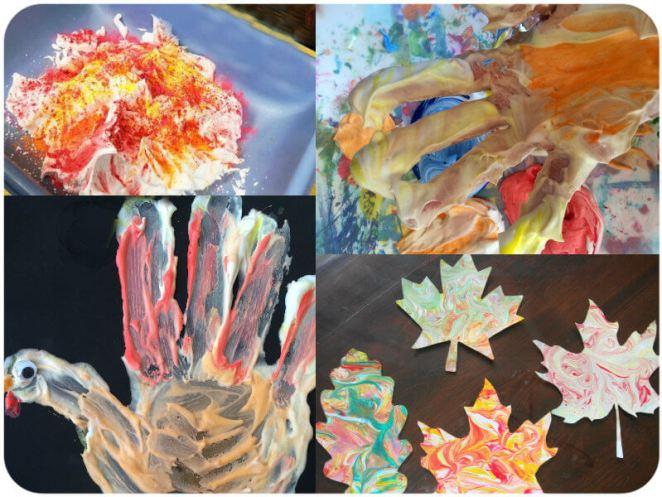 Thanksgiving Activities Shaving Cream Art