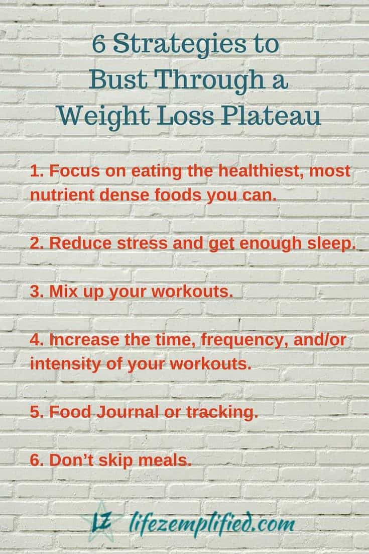It happens to all of us at some point – the needle on the scale doesn't move. Check out these 6 tips for busting through your weight loss plateau! #weightloss #weightlossplateau #losingweight