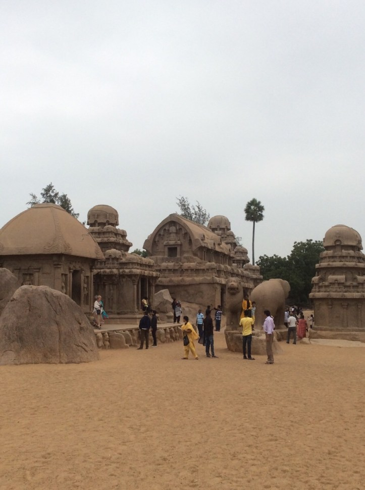 Pancharathas Mahabalipuram five rock carvings like temples believed as Pandava's chariots.