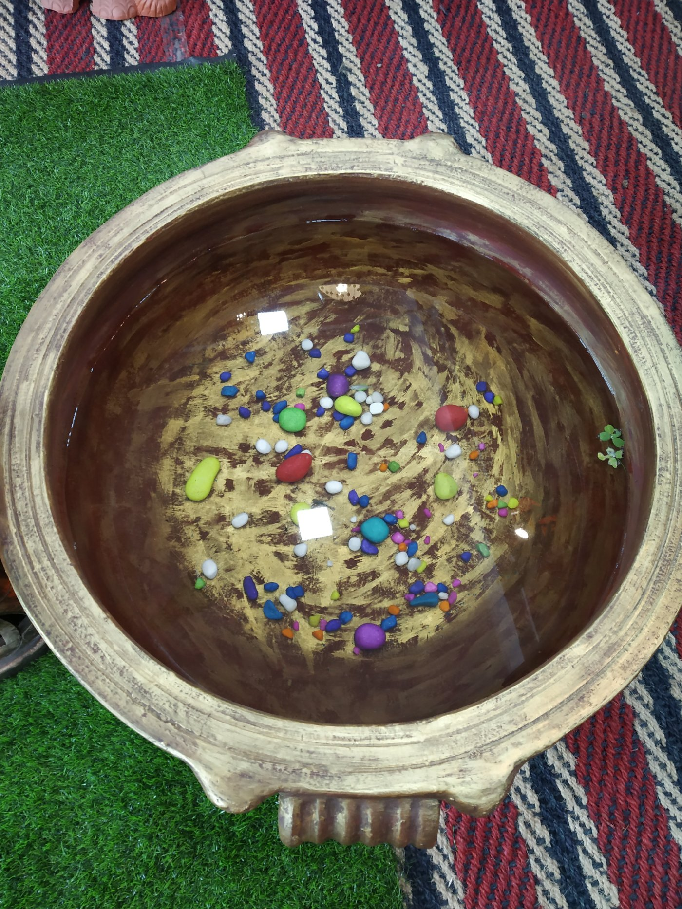 The ready to use fish pond made in the shape of uruli, a brass vessel of Kerala.