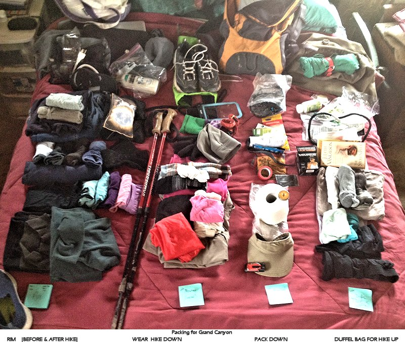 Clothes/gear that's going to Grand Canyon laid out on a bed