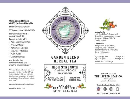 CBD Tea Garden Blend Label
