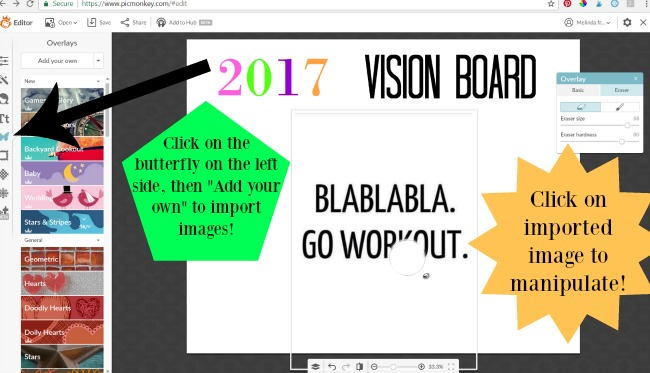 vision board in picmonkey - via LiftingMakesMeHappy.com