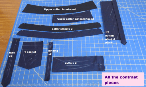 It's a sewing tutorial that includes cutting, marking and interfacing all the pattern pieces needed for a classic shirt like the Mila Shirt from Itch to Stitch sewing patterns.  You'll see lot's of tips here to get you started.  #sewingshirts #sewingclassicshirt