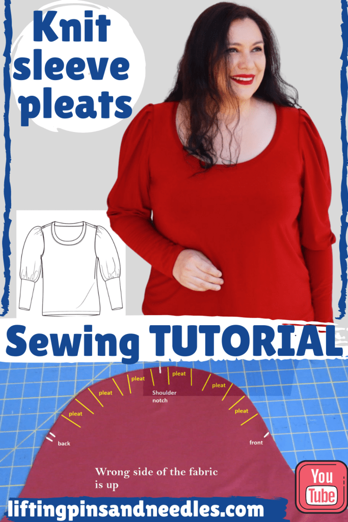 A sleeve cap with gorgeous pleats is a fun detail for a knit top and I am showing how to sew these pleats and gathers in a step by step sewing tutorial.  The sewing pattern I am using for this demostration is the Cambria top from GreenStyle Creations, an indie sewing pattern brand with inclusive sizing.