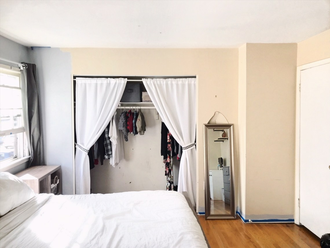 Minimalist Bedroom, Curtain for the Closet,