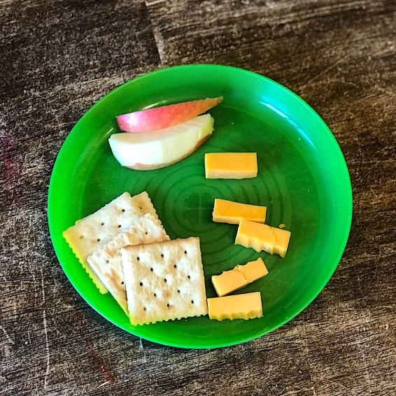 Apples, cheese chunks, and crackers