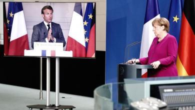 صورة ميركل وماكرون يقترحا صندوق إعادة إعمار بقيمة 500 مليار يورو لفيروس كورون وإسبانيا ترحب