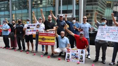 صورة احتجاجات الجالية المغربية أمام القنصلية الإسبانية بنيويورك ولوم علي موقف الجمعيات الحقوقية الإسبانية
