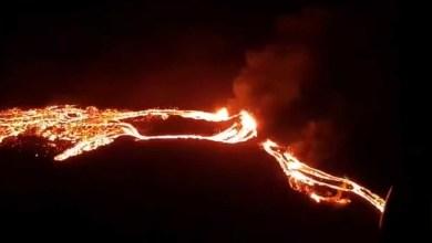صورة انفجار ثوران بركان بالقرب من عاصمة آيسلندا