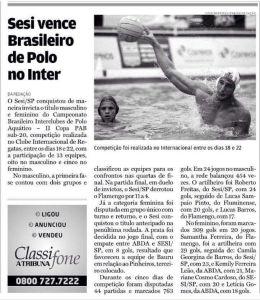 Matéria publicada no Jornal A Tribuna, de 24 de outubro de 2017