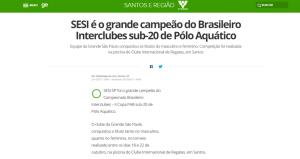 Matéria publicada no Globo Esporte, de 23 de outubro de 2017