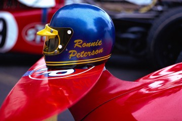 Ronnie Peterson's helmet on his March front wing
