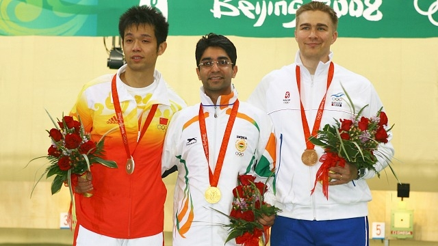 Silver medalist Zhu Qinan of China, Gold medalist Abhinav Bindra and Bronze medalist Henri Hakkinen of Finland after the Men's 10m Air Rifle Final during the 2008 Beijing Olympics(Photo courtesy - GETTY)