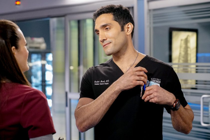 """CHICAGO MED -- """"Letting Go Olny To Come Together"""" Episode 611 -- Pictured: (l-r) Torrey DeVitto as Natalie Manning, Dominic Rains as Crockett Marcel -- (Photo by: Elizabeth Sisson/NBC)"""