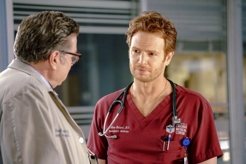 """CHICAGO MED -- """"Letting Go Olny To Come Together"""" Episode 611 -- Pictured: (l-r) Oliver Platt as Daniel Charles, Nick Gehlfuss as Dr. Will Halstead  -- (Photo by: Elizabeth Sisson/NBC)"""