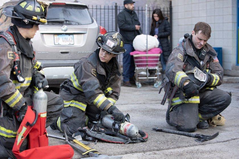 "CHICAGO FIRE -- ""One Crazy Shift"" Episode 910 -- Pictured: (l-r) Alberto Rosende as Blake Gallo, Miranda Rae Mayo as Stella Kidd, Jesse Spencer as Matthew Casey -- (Photo by: Adrian S. Burrows Sr./NBC)"