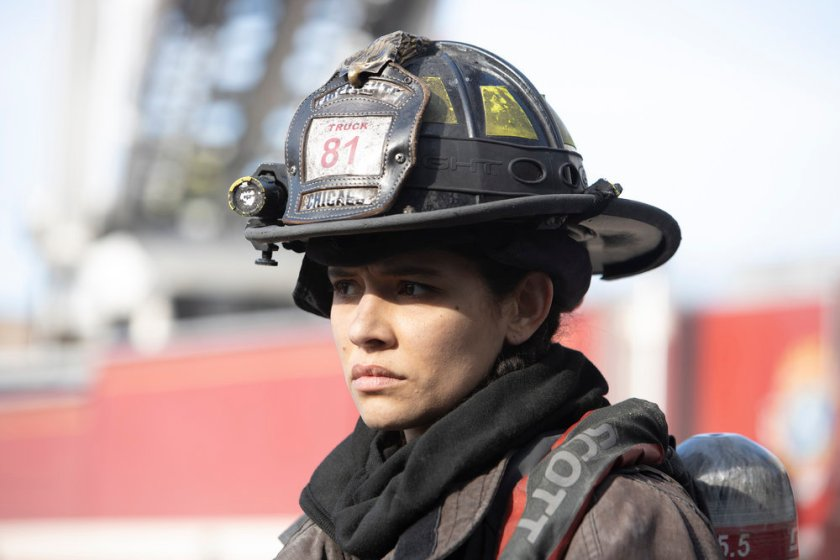 """CHICAGO FIRE -- """"One Crazy Shift"""" Episode 910 -- Pictured: Miranda Rae Mayo as Stella Kidd -- (Photo by: Adrian S. Burrows Sr./NBC)"""