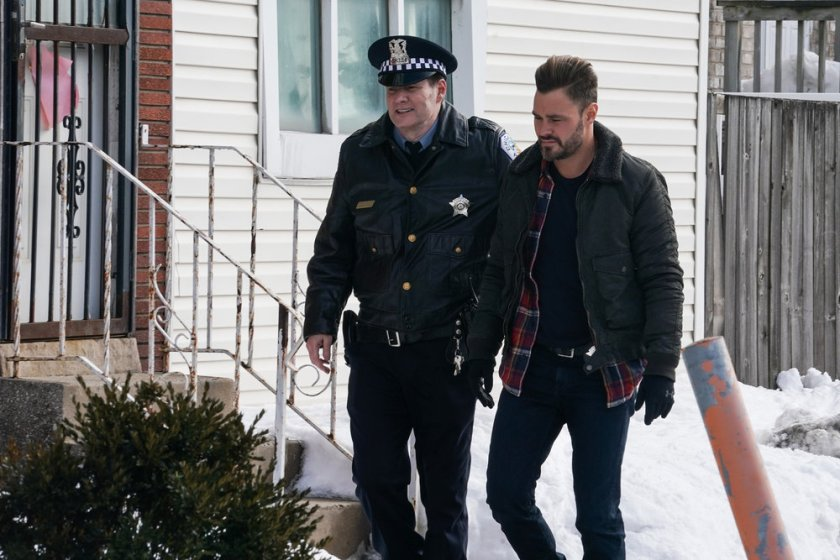 "CHICAGO P.D. -- ""The Radical Truth"" Episode 810 -- Pictured: (l-r) Jack Coleman as Bob Ruzek, Patrick John Flueger as Adam Ruzek -- (Photo by: Lori Allen/NBC)"