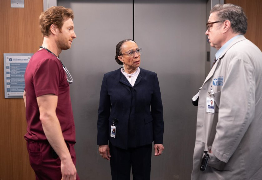"""CHICAGO MED -- """"Some Things Are Worth The Risk"""" Episode 612 -- Pictured: (l-r) Nick Gehlfuss as Dr. Will Halstead, S. Epatha Merkerson as Sharon Goodwin, Oliver Platt as Daniel Charles -- (Photo by: Adrian S. Burrows Sr./NBC)"""