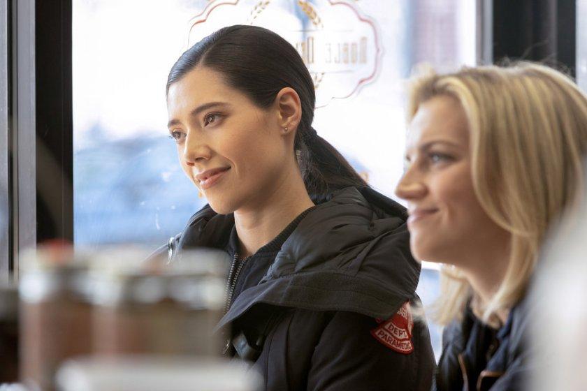 "CHICAGO FIRE -- ""A Couple Hundred Degrees"" Episode 911 -- Pictured: (l-r) Miranda Rae Mayo as Stella Kidd, Kara Killmer as Sylvie Brett -- (Photo by: Adrian S. Burrows Sr./NBC)"