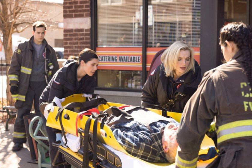 "CHICAGO FIRE -- ""A Couple Hundred Degrees"" Episode 911 -- Pictured: (l-r) Alberto Rosende as Blake Gallo, Miranda Rae Mayo as Stella Kidd, Kara Killmer as Sylvie Brett -- (Photo by: Adrian S. Burrows Sr./NBC)"