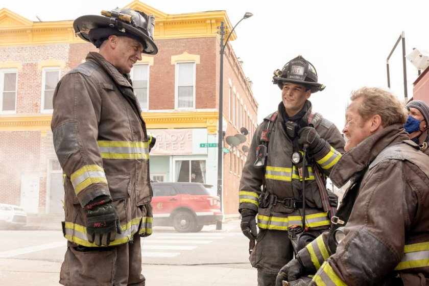 """CHICAGO FIRE -- """"Natural Born Firefighter"""" Episode 912 -- Pictured: (l-r) David Eigenberg as Christopher Herrmann, Alberto Rosende as Blake Gallo, Christian Stolte as Randall """"Mouch"""" McHolland -- (Photo by: Adrian S. Burrows Sr./NBC)"""