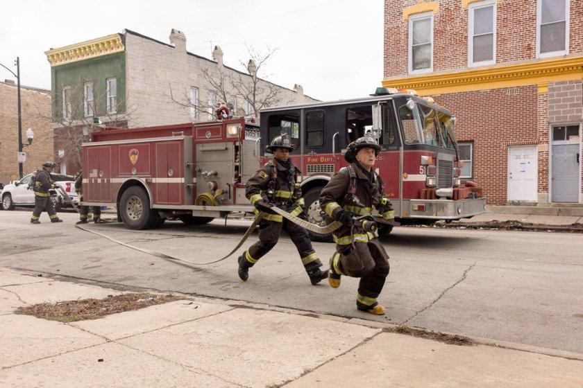 "CHICAGO FIRE -- ""Natural Born Firefighter"" Episode 912 -- Pictured: (l-r) Daniel Kyri as Darren Ritter, David Eigenberg as Christopher Herrmann -- (Photo by: Adrian S. Burrows Sr./NBC)"