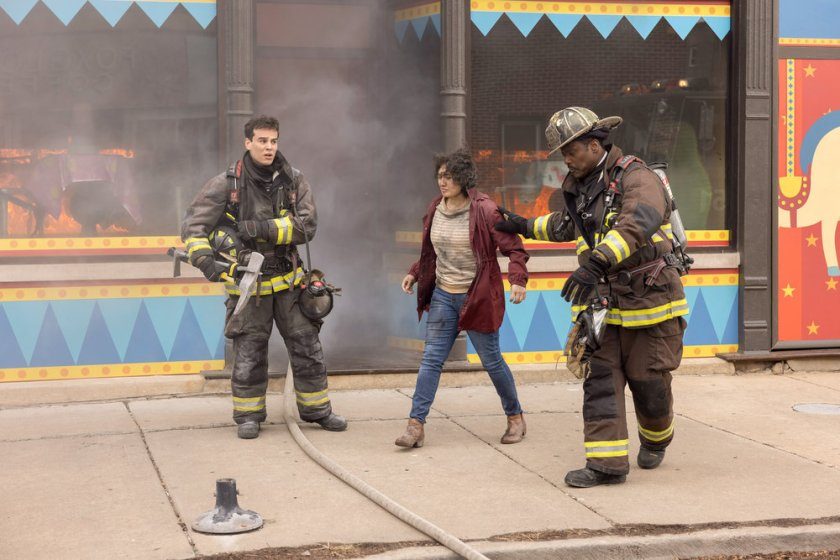 """CHICAGO FIRE -- """"Natural Born Firefighter"""" Episode 912 -- Pictured: (l-r) Alberto Rosende as Blake Gallo, Eamonn Walker as Wallace Boden -- (Photo by: Adrian S. Burrows Sr./NBC)"""