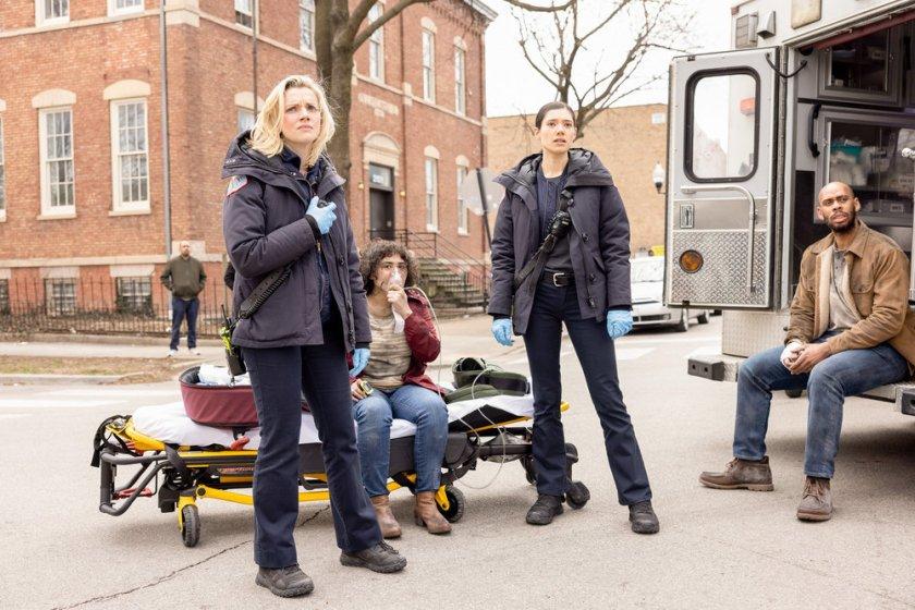 "CHICAGO FIRE -- ""Natural Born Firefighter"" Episode 912 -- Pictured: (l-r) Kara Killmer as Sylvie Brett, Hanako Greensmith as Violet -- (Photo by: Adrian S. Burrows Sr./NBC)"