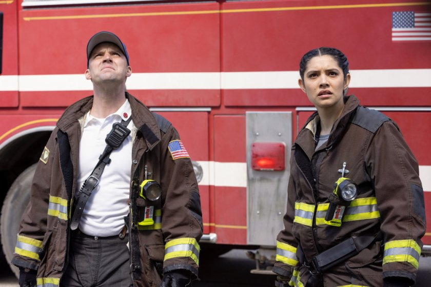 """CHICAGO FIRE -- """"Don't Hang Up"""" Episode 913 -- Pictured: (l-r) Jesse Spencer as Matthew Casey, Miranda Rae Mayo as Stella Kidd -- (Photo by: Adrian S. Burrows Sr./NBC)"""