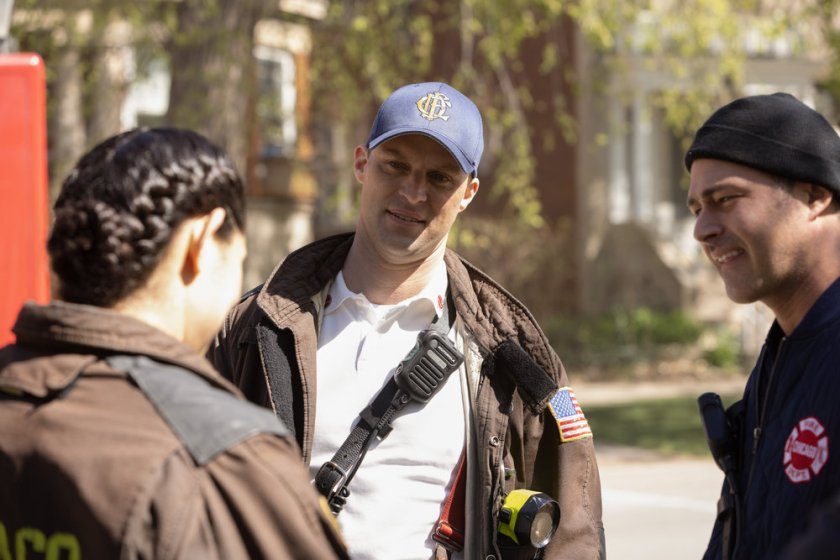 """CHICAGO FIRE -- """"Don't Hang Up"""" Episode 913 -- Pictured: (l-r) Jesse Spencer as Matthew Casey, Taylor Kinney as Kelly Severide -- (Photo by: Adrian S. Burrows Sr./NBC)"""