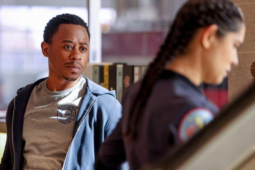 "CHICAGO FIRE -- ""Don't Hang Up"" Episode 913 -- Pictured: (l-r) Daniel Kyri as Darren Ritter, Miranda Rae Mayo as Stella Kidd -- (Photo by: Adrian S. Burrows Sr./NBC)"